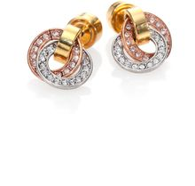 Michael Kors Tritone Rhinestone Button Earrings - Lyst