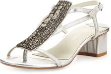 Donald J Pliner Macha Beaded Metallic Sandal Silver - Lyst