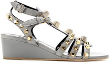 Balenciaga Studded Leather Wedge Sandals - Lyst