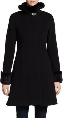 Via Spiga Fur-trimmed Woolblend Coat - Lyst