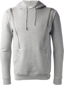 Saint Laurent Zip Detail Hoodie - Lyst