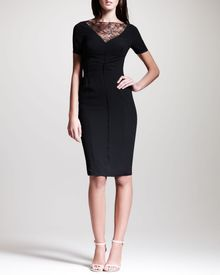 Nina Ricci Lacetrimmed Crepe Sheath Dress Black - Lyst