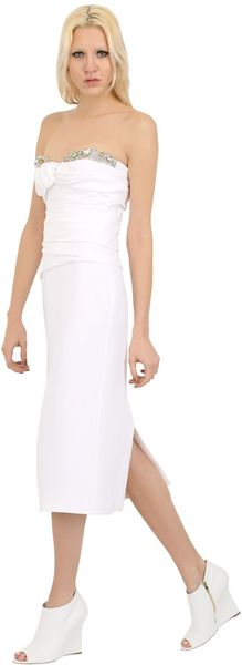 Burberry Prorsum Embroidered Viscose Cady Dress - Lyst