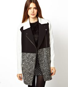Asos Coat with Patch Colour Block - Lyst