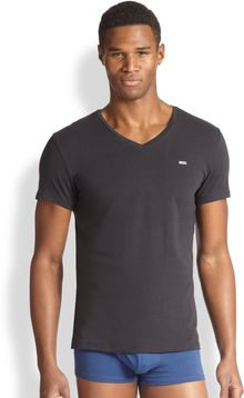 Diesel Logo Stretch Cotton Vneck Tee - Lyst