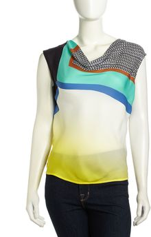 Catherine Malandrino Crystal Sleeveless Graphiccontrast Silk Blouse Glass Print - Lyst