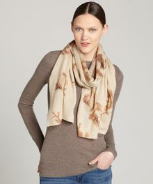 La Fiorentina Brown Abstract Floral Print Woolcashmere Blend Scraf - Lyst