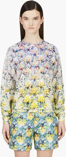 Mary Katrantzou Purple and Yellow Layered Print Tape De Casty Sweatshirt - Lyst