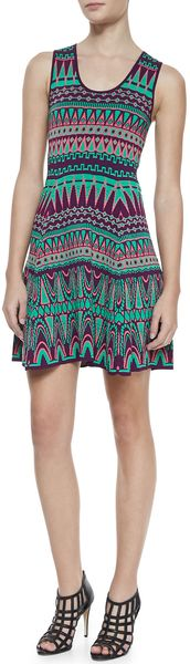 Milly Bright Jacquard Fitandflare Dress - Lyst