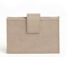 Fendi Beach Sand Crosshatched Leather Snap Button Credit Card Holder - Lyst