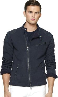 Ralph Lauren Black Label Coated Fleece Moto Jacket - Lyst