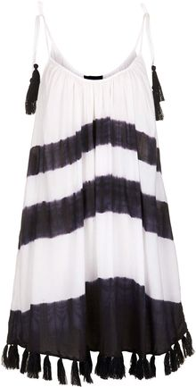 Topshop Black White Tassel Hem Dress - Lyst