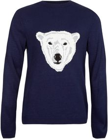 Topman Navy Polar Bear Sweater - Lyst
