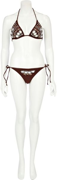 River Island Dark Brown Embellished Bikini Briefs - Lyst