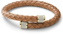 Michael Kors Goldtone Leather Bypass Wrap Bracelet - Lyst