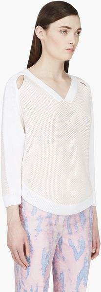 3.1 Phillip Lim White and Blush Silk Knit Sweater - Lyst