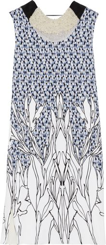 Vionnet Embellished Printed Stretchsilk Dress - Lyst