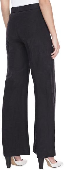 Donna Karan New York Linenblend Wideleg Trousers Black - Lyst