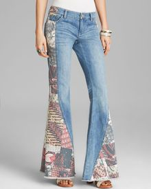 Free People Jeans Patched Pieced Flare Denim in Indigo - Lyst