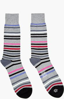 Paul Smith Grey Multicolor String Stripe Socks - Lyst