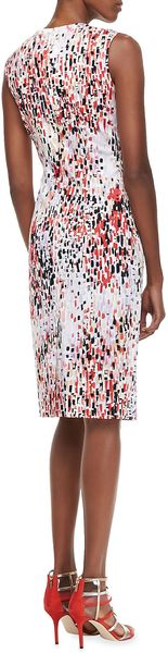 Carolina Herrera Abstract Printed Sleeveless Sheath Dress - Lyst
