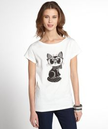French Connection White Cotton Geeky Cat Graphic Short Sleeve Tee - Lyst