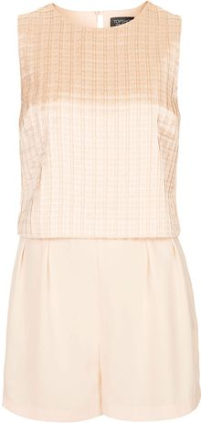 Topshop Pleated Tier Playsuit - Lyst