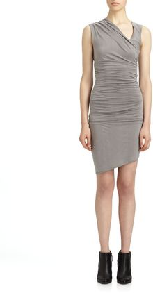 Helmut Lang Ruched Jersey Dress - Lyst