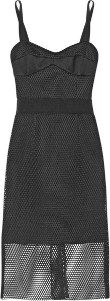 Milly Honeycombmesh and Crepe Dress - Lyst