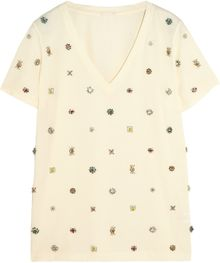 J.Crew Collection Embellished Cottonjersey Tshirt - Lyst
