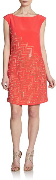 Trina Turk Beaded Silk Shift Dress - Lyst