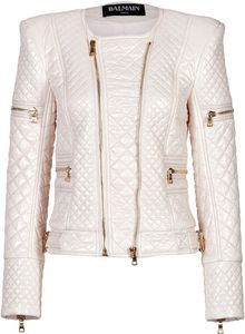 Balmain Bold Shoulder Quilted Jacket - Lyst
