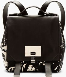 Proenza Schouler Black Marbled Canvas Ps1 Small Backback - Lyst