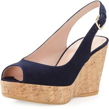 Stuart Weitzman Jean Suede Cork Wedge Nice Blue Made To Order - Lyst