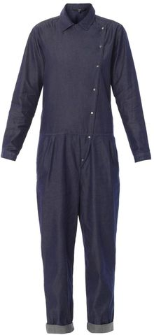 Tibi Asymmetric Denim Jumpsuit - Lyst
