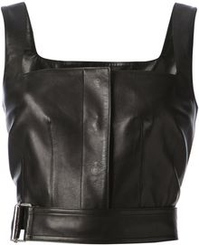 Alexander McQueen Cropped Leather Tank - Lyst