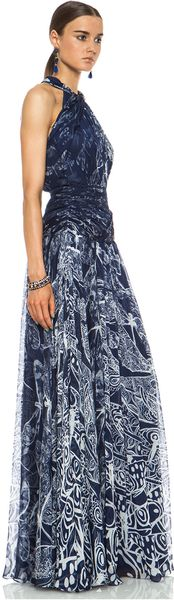 Matthew Williamson Twisted Collar Dragonfly Silk Gown - Lyst