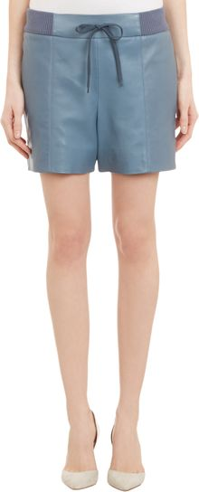Chloé Leather Drawstring Shorts - Lyst