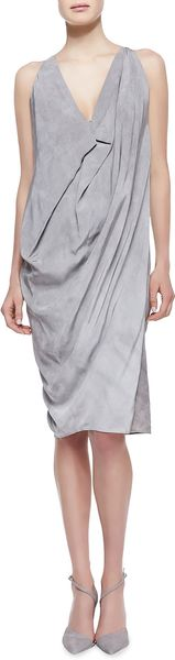 Donna Karan New York Folded Cowl Chemise Dress Oyster - Lyst