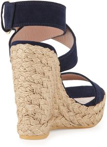 Stuart Weitzman Xray Suede Jute Wedge Nice Blue Made To Order - Lyst