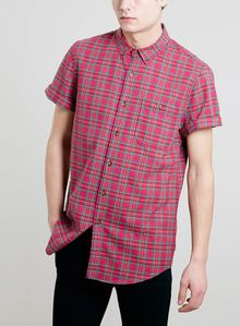 Topman Red Tartan Short Sleeve Shirt - Lyst