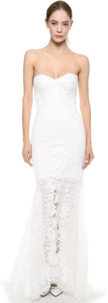Monique Lhuillier Chloe Chantilly Trumpet Gown - Lyst