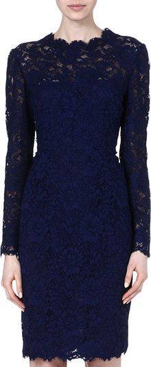 Valentino Classic Lace Kneelength Dress - Lyst