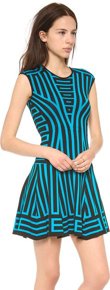 Rvn Graphic Stripe Flare Dress - Lyst