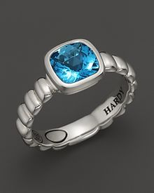 John Hardy Bedeg Sterling Silver Batu Square Station Slim Band Ring with 7mm Swiss Blue Topaz - Lyst