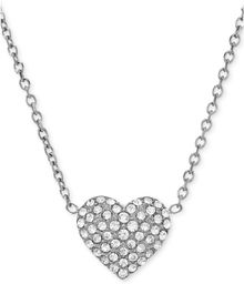 Michael Kors Silvertone Crystal Heart Pendant Necklace - Lyst