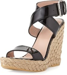 Stuart Weitzman Xray Patent Jute Wedge Black Made To Order - Lyst