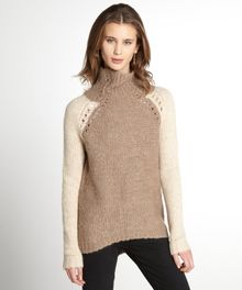 Rebecca Taylor Crème and Caramel Colorblock Funnel Neck Wool Sweater - Lyst