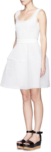 Maje Divas Mesh Overlay Sleeveless Full Flare Dress - Lyst