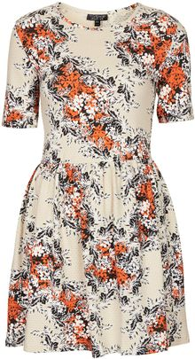 Topshop Floral Texture Flippy Dress - Lyst